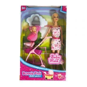 Bonnie Pink Doll with Baby and Stroller