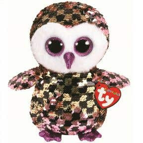TY Toys Checks - Reversible Sequin Pink and Black Owl Medium